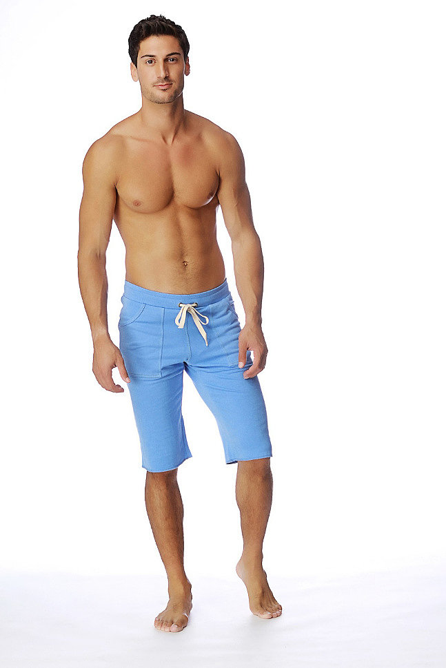 Eco-Track Mens Short for Yoga (Solid Ice Blue)