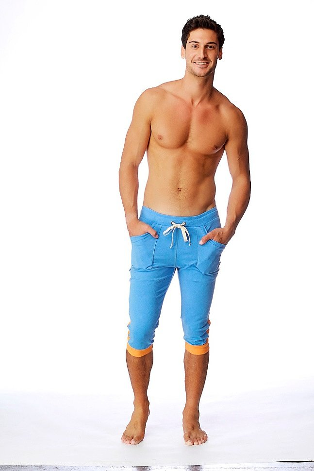 Cuffed Yoga Pants for men (Ice Blue w/Orange)