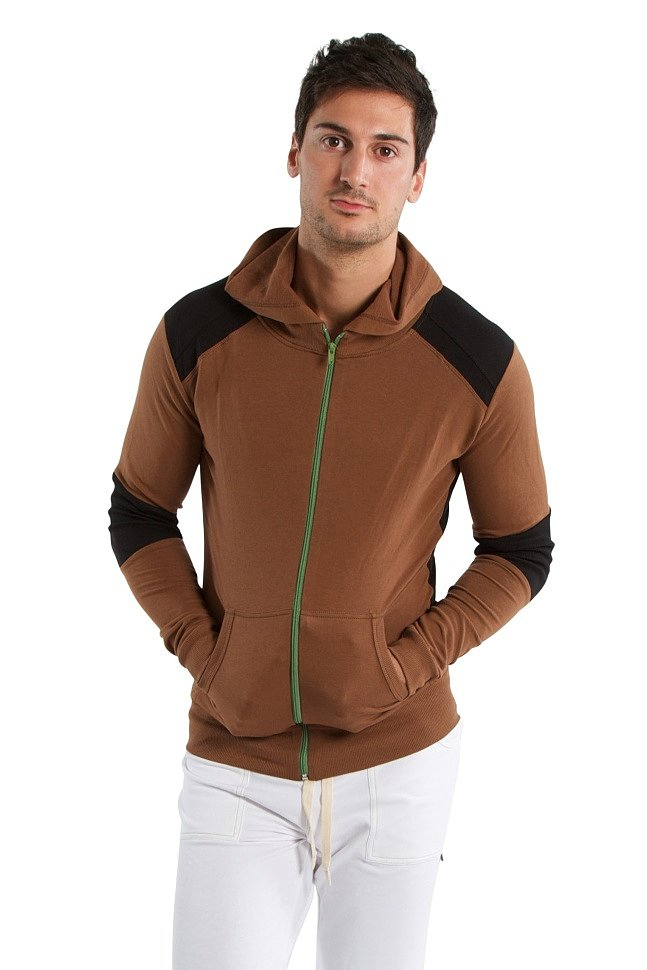 Crossover Hoodie for Yoga (Chocolate w/Black).