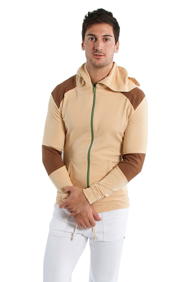 Crossover Hoodie for men (Sand w/Chocolate)