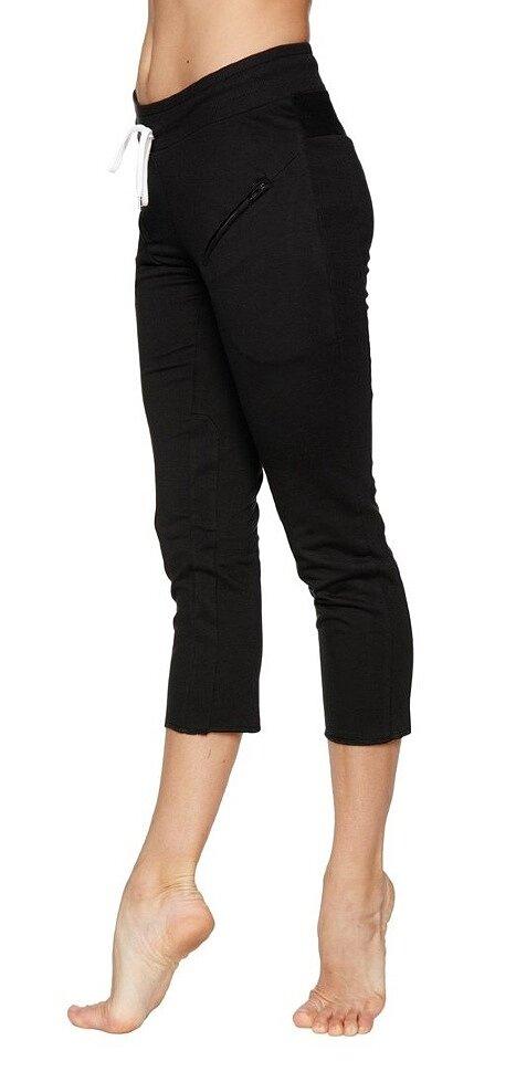 Women's 4/5 Length Zipper Pocket Capri Yoga Pants (Black)