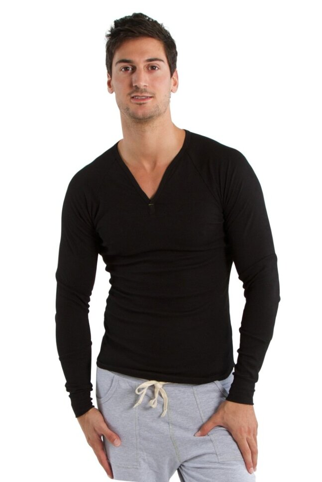 Men s Ribbed Thermal V-neck Long Sleeve Henley (Black) buy online at ... 5eed5fe90