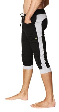 Cuffed Yoga Pants for men (Black w/Grey)