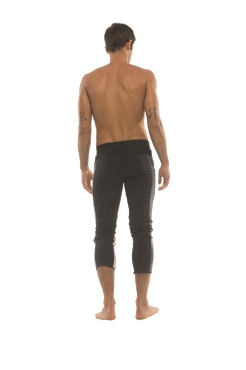 Mens 4/5 Zipper Pocket Capri Yoga Pants (Black w/Charcoal & GREY)
