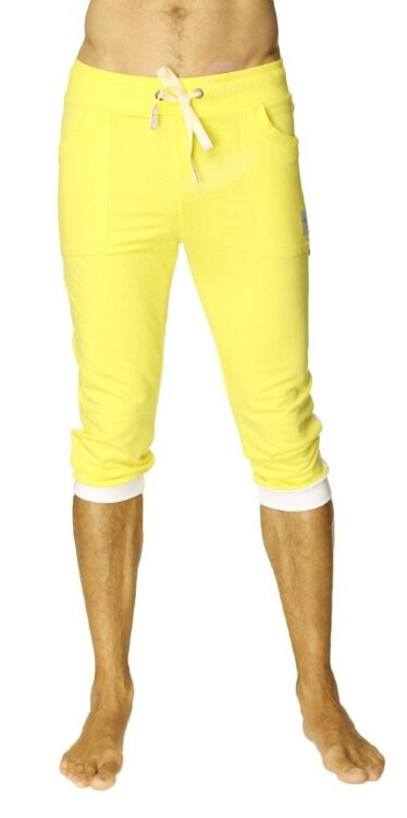Cuffed Yoga Joggers for men (Tropic Yellow w/White)