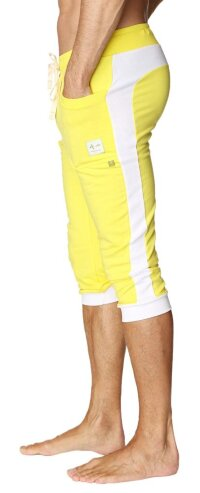 Cuffed Yoga Pants for men (Tropic Yellow w/White)