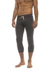 Mens 4/5 Zipper Pocket Capri Yoga Pants (Solid Charcoal)