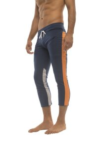 Mens 4/5 Zipper Pocket Capri Yoga Pants (Royal w/Orange & GREY)