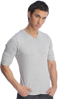 Hybrid V-Neck Tee (Heather Grey)
