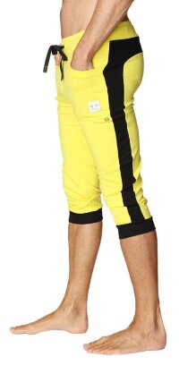 Cuffed Yoga Pants for men (Tropic Yellow w/Black)