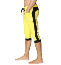 Loose 3/4 Cuffed Yoga Pants for Men (Tropic Yellow w/Black)