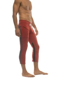 Mens 4/5 Zipper Pocket Capri Yoga Pants (RED w/Charcoal & Black)