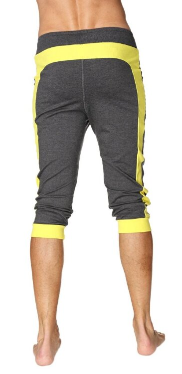 Cuffed Capri Yoga Pants for Men made in US (Charcoal w/Yellow)