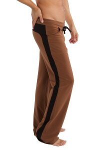 Soft Comfortable Men's Yoga Track Pants (Chocolate w/Black)