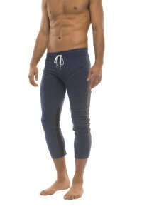 Mens 4/5 Zipper Pocket Capri Yoga Pants (Royal w/Charcoal & Black)