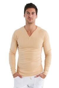 Men's Yoga Thermal V-Neck Long Sleeve (Sand)