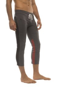 Mens 4/5 Zipper Pocket Capri Yoga Pants (Charcoal w/Black & Red)