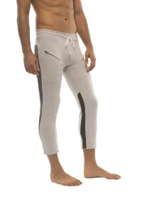 Mens 4/5 Zipper Pocket Capri Yoga Pants (GREY w/Charcoal & Black)