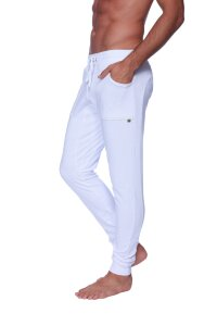 Long Cuffed Jogger Yoga Pants (White)