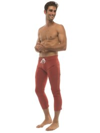Mens 4/5 Yoga Capris with Zipper Pockets (Solid Cinnabar Red)