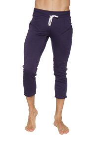 Mens 4/5 Zipper Pocket Capri Yoga Pants Tight (Eggplant)