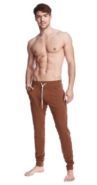 Long Cuffed Jogger Yoga Pants (Chocolate Brown)
