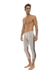Mens 4/5 Zipper Pocket Capri Yoga Pants (GREY w/Charcoal & Red)