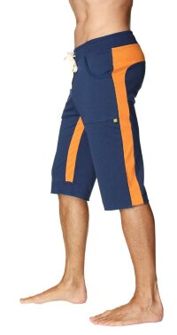 Tri-color Ultra-flex Yoga Short (Royal w/Orange & Orange)