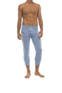 Mens 4/5 Zipper Pocket Capri Yoga Pants (Solid ICE Blue)