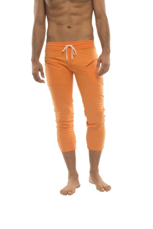 Mens 4/5 Zipper Pocket Capri Yoga Pants (Solid Orange)