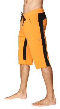 Tri-color Ultra-flex Yoga Short (Orange w/Black & Black)
