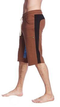 Tri-color Ultra-flex Yoga Short (Chocolate w/Black & Ice)