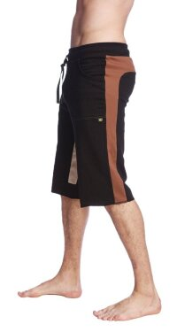 Tri-color Ultra-flex Yoga Short (Black w/Chocolate & Sand)
