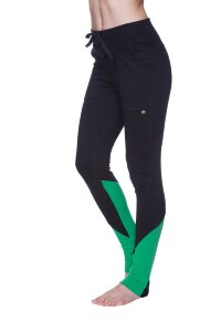 "Women's ""Long"" Performance Yoga Pant (Black w/Bamboo Green)"