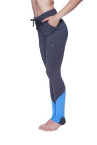 "Women's ""Long"" Performance Yoga Pant (Charcoal w/Ice Blue)"