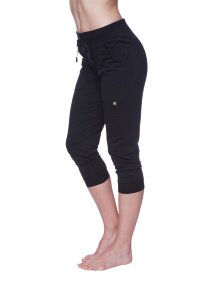Women's 3/4 Cuffed Capri Yoga Pant (Solid Black)