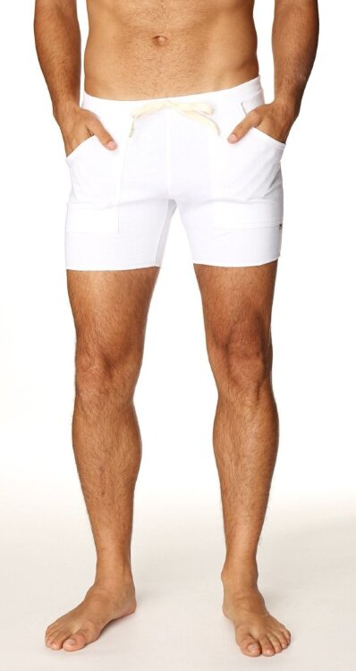 Transition Yoga Short for Men (White) - made in USA
