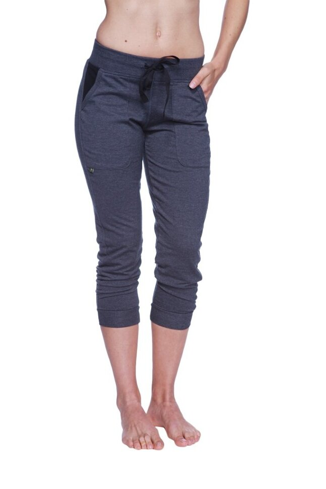 Womens Cuffed Capri Yoga Pant (Charcoal w/Black) buy at Yoga-Eco ...