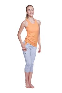 Women's 3/4 Cuffed Capri Yoga Pant (Heather Grey w/Orange)