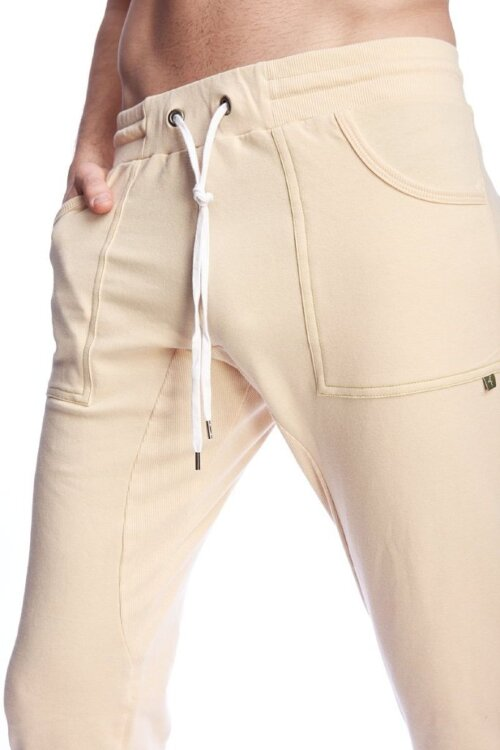 Long Cuffed Jogger Yoga Pants (Sand Beige) - details