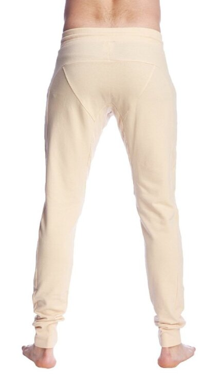 Long Cuffed Jogger Yoga Pants (Sand Beige) - back view