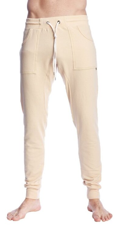 Long Cuffed Jogger Yoga Pants (Sand Beige) - front view