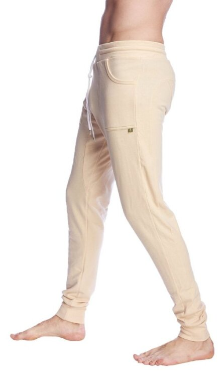 Long Cuffed Jogger Yoga Pants (Sand Beige) - side view