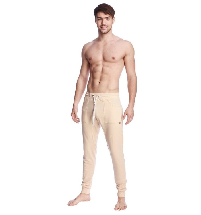 Men's Long Cuffed Jogger Yoga Pants (Sand Beige)