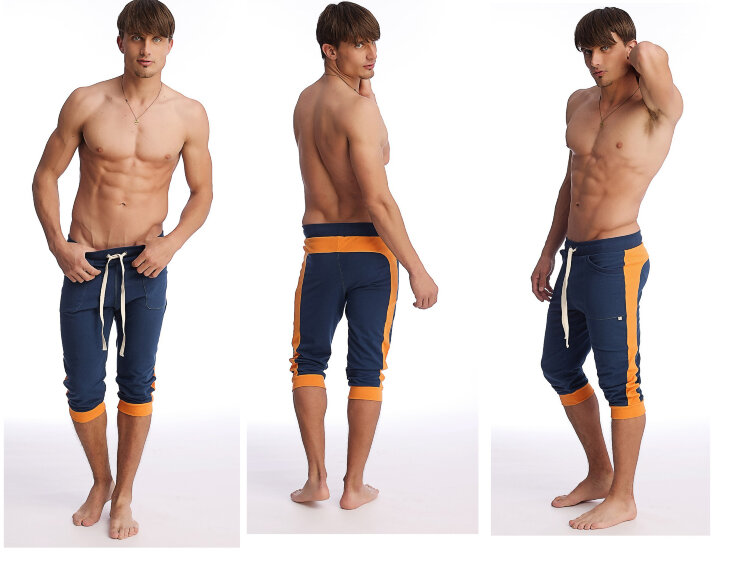 Men's Cuffed Yoga Pants (Royal w-orange).jpg