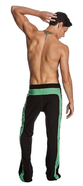 Men's Workout Track Pants from Organic fabric (Black w/Bamboo Green)