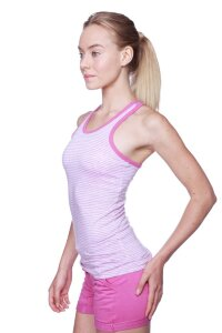 Women's All-American Racerback Tank Top (Pink&Grey Stripe w/Berry piping)