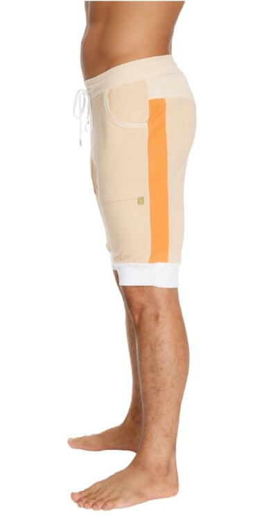 Cuffed Athletics Works Yoga Shorts (Sand w/Orange & White)