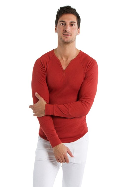 Mens Thermal V-Neck Long Sleeve - Cinnabar.jpg
