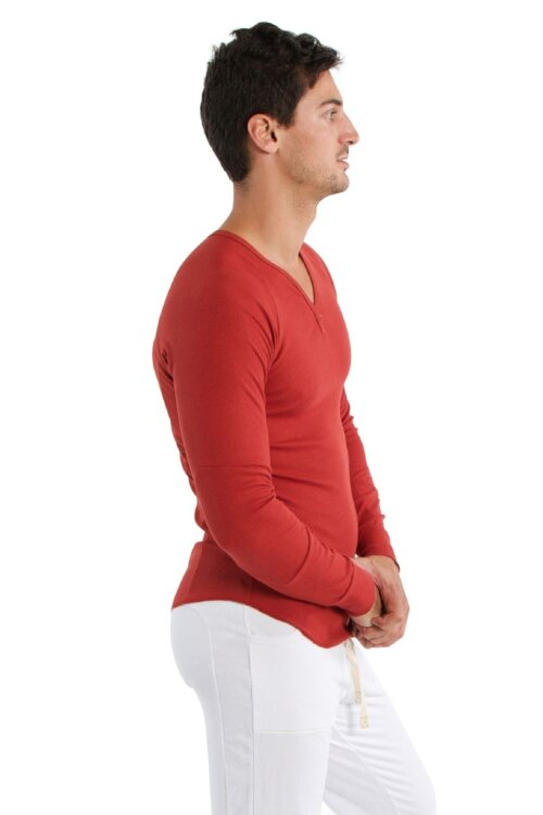 Mens Thermal V-Neck Long Sleeve - Cinnabar - 1.jpg